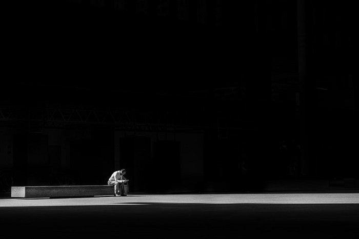 dramatic black and white image shot on film