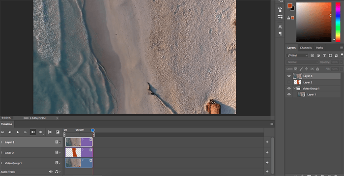 A screenshot of making a cinemagraph in Photoshop