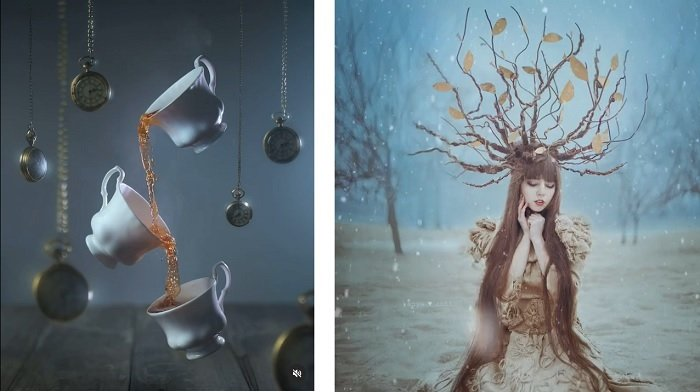 Diptych cinemagraph images from Ashraful Arefin's and Anya Anti's respective portfolios