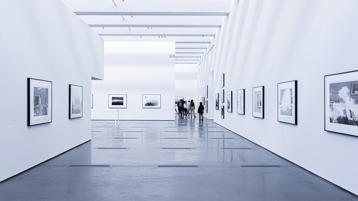 black and white image of an art gallery