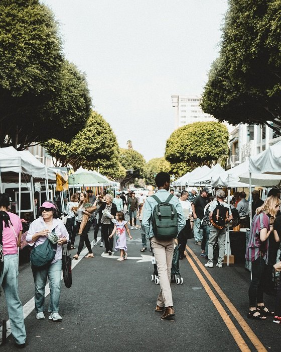 photograph of market stalls