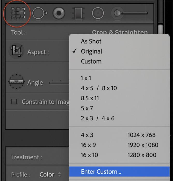 Lightroom screenshot aspect ratios