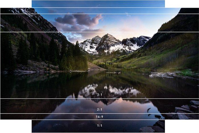 mountain landscape aspect ratios 1:1 2:1 3:1 16:9