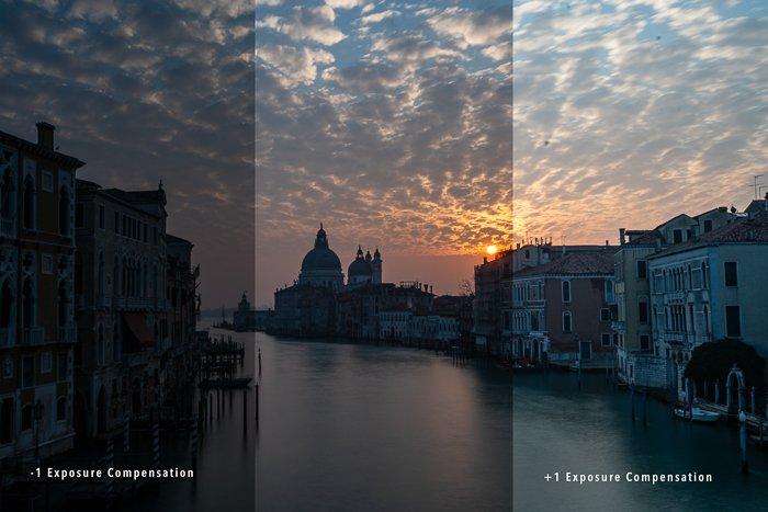 venice sunrise compare exposure compensation