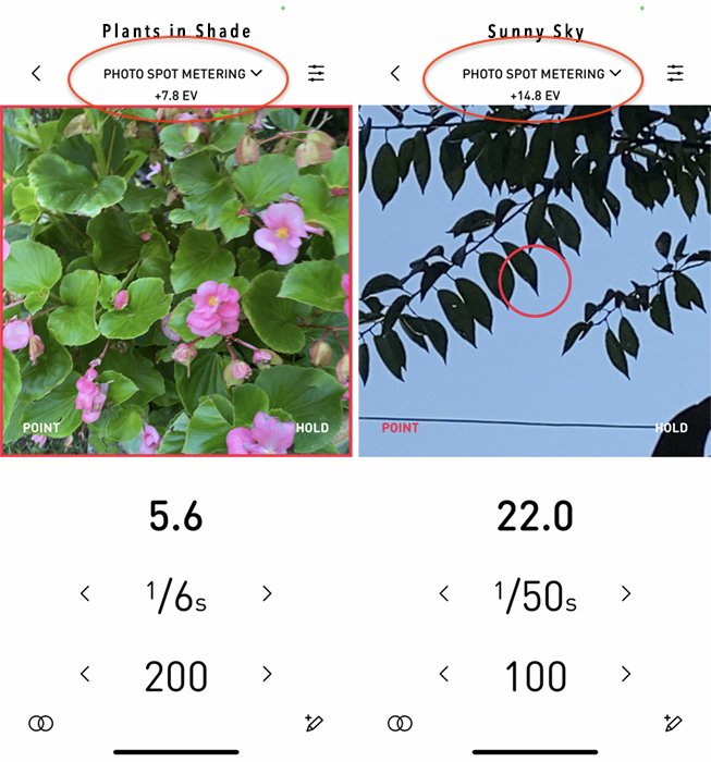 lightmeter app showing exposure values