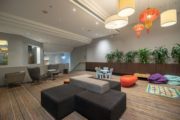 A spacious hotel lobby interior lounge area shot for real estate photography