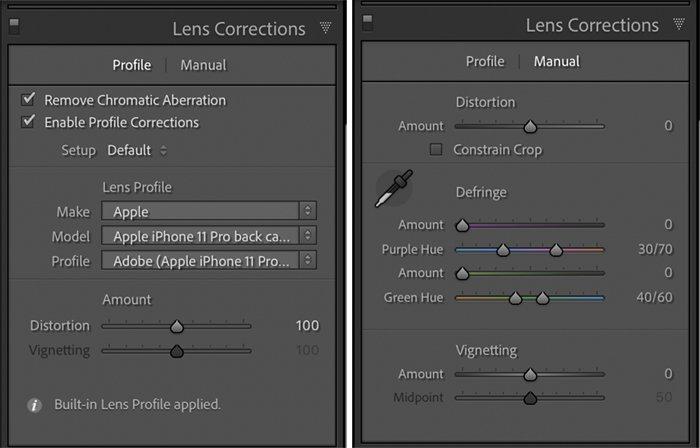 Lightroom screenshots lens correction panel