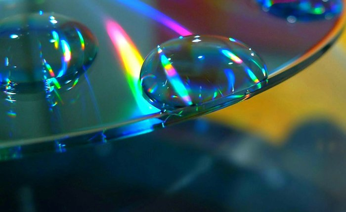 Water and glass prism rainbow light