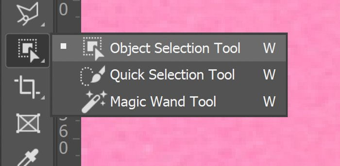 Closeup of choosing object selection tool photoshop from the selection tool menu