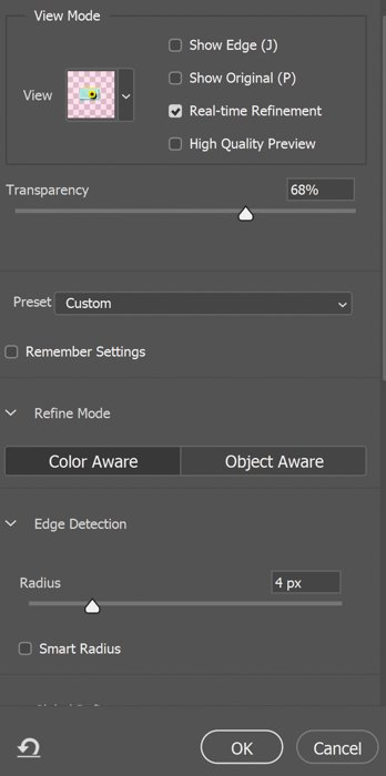 Transparency and Edge Detection sliders
