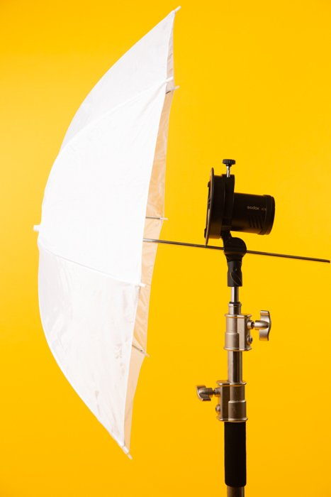 Umbrella against a yellow background