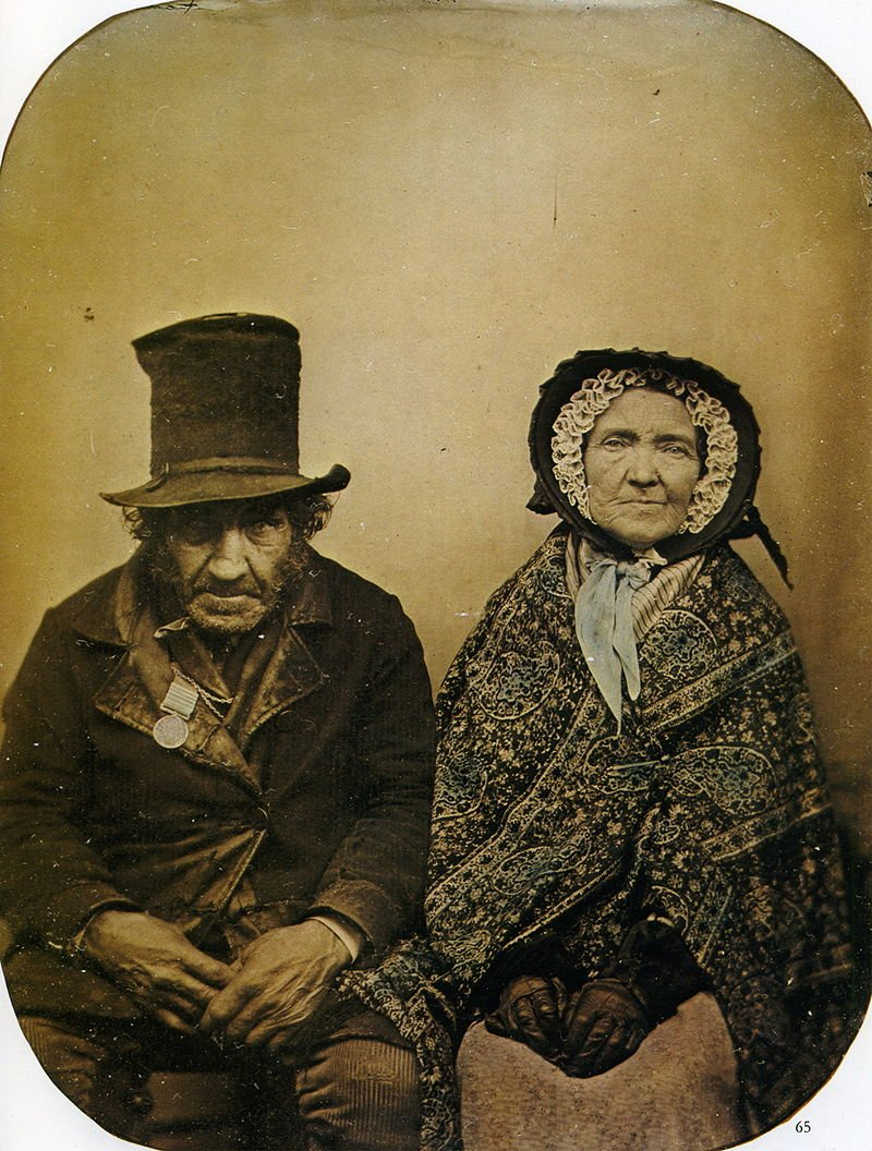 ambrotype wet plate portrait of an elderly couple