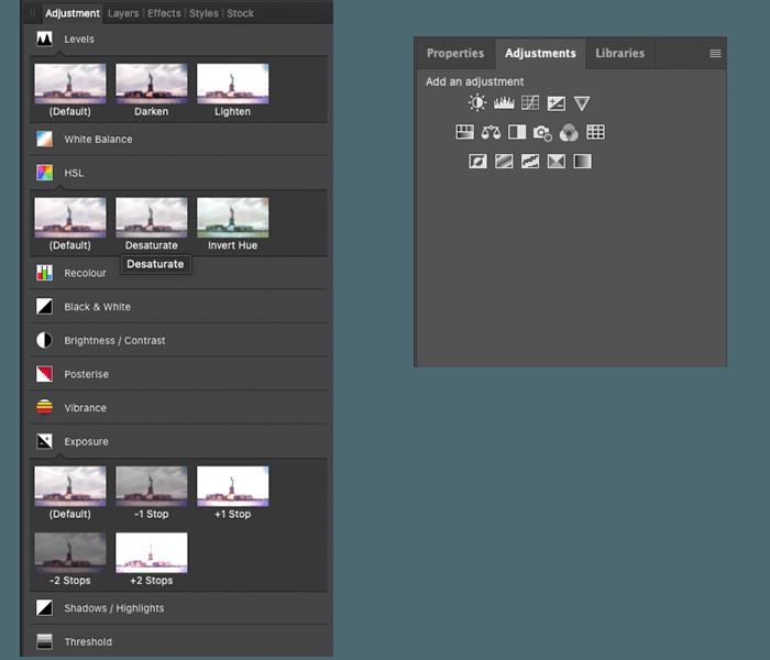 Affinity vs Photoshop Adjustment panels