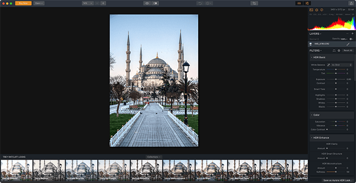 a screenshot of aurora hdr ai photo editor software interface with mosque example