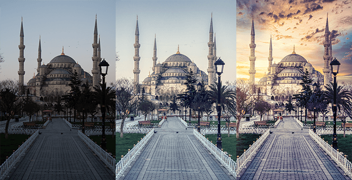 Blue Mosque Istanbul original then edited twice using ai photo editor software