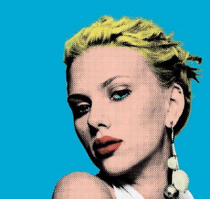 pop art effect on a portrait of Scarlett Johansson