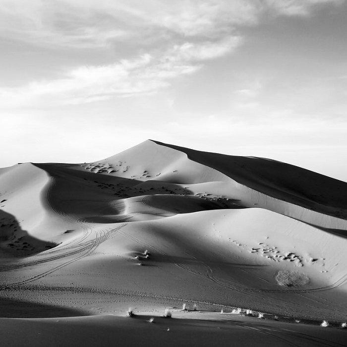 black and white sand dunes