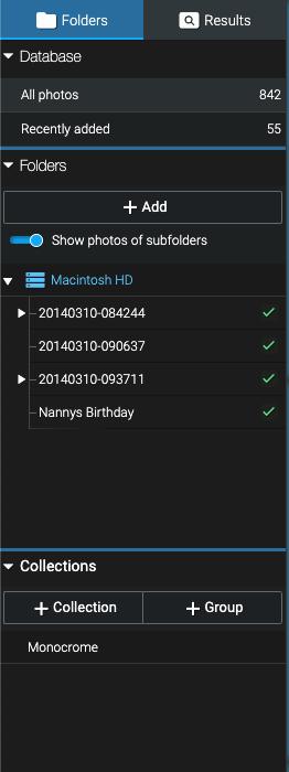 a screenshot of organisation in Excire Foto
