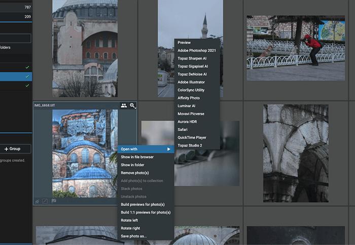 a screenshot of Excire Foto software integration options