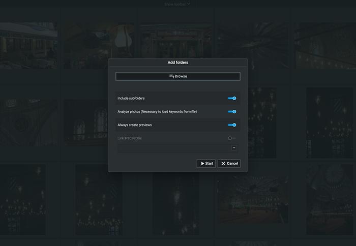 a screenshot of excire foto scanning folders