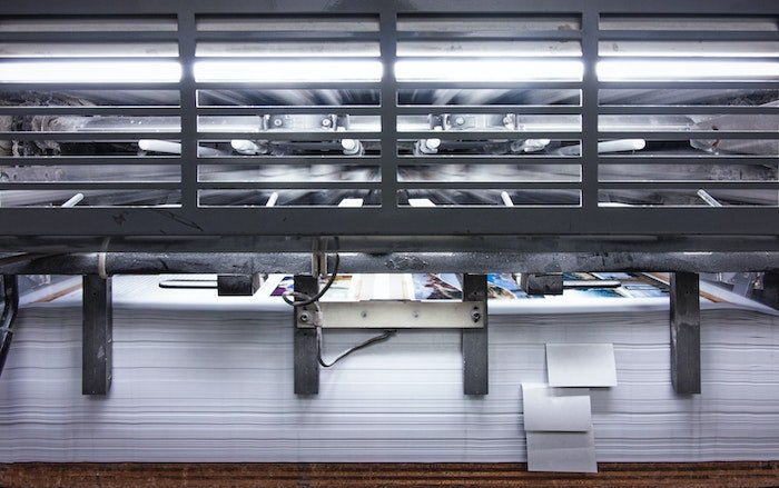 A large printing press for enlarged photos