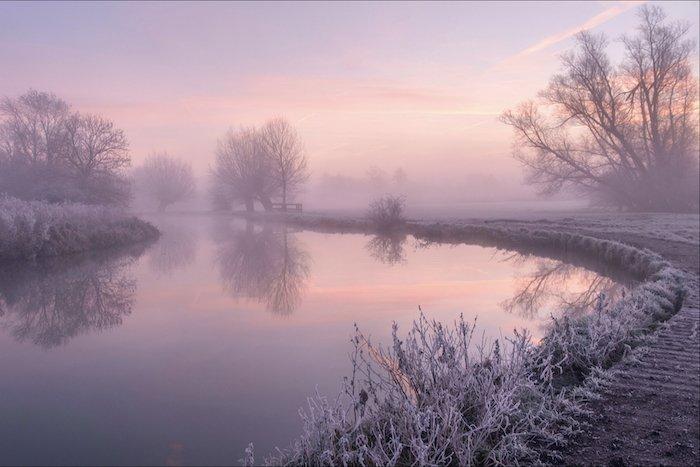 landscape photography: a still lake at dusk