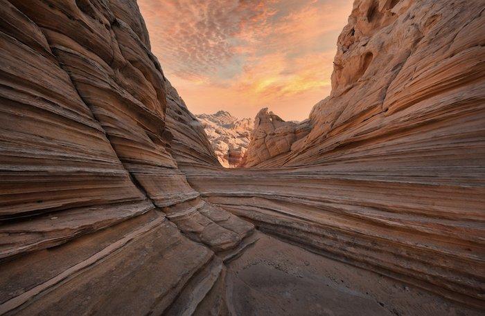 landscape photography inspiration: a sunrise seen through a canyon