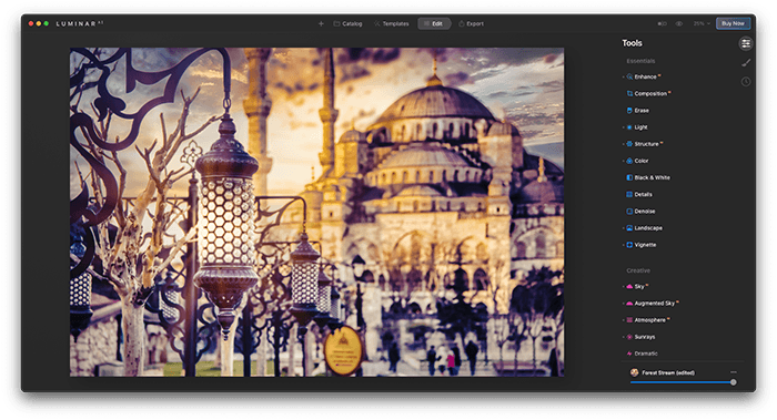 a screenshot of Luminar AI photo editor with mosque example