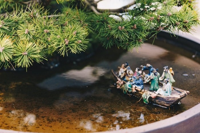 an outdoor miniature photography scene of a boat