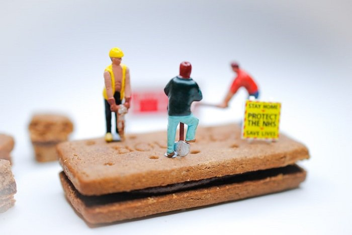 miniature photography scene of construction work