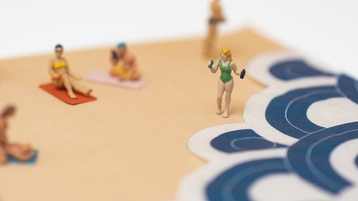 miniature photography of a beach scene