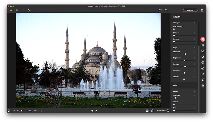 A screenshot of Movavi Picverse ai photo editor interface with mosque example