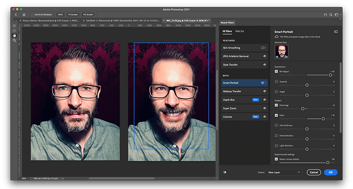 Photograph of me straight faced next to the same image made to smile using Photoshops AI Neural Filters