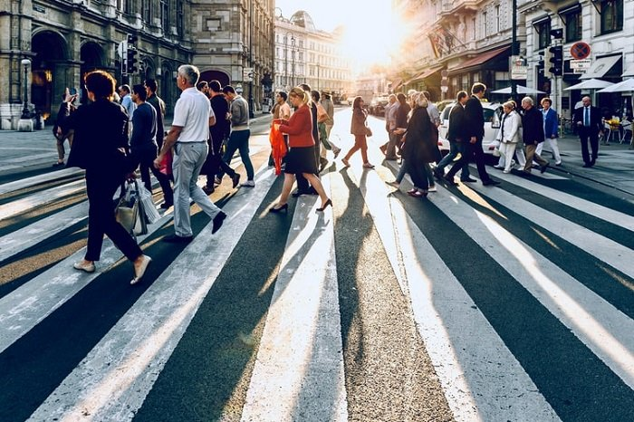 image of a busy pedestrian crossing