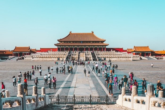 image of the Forbidden City with pedestrians in the foreground