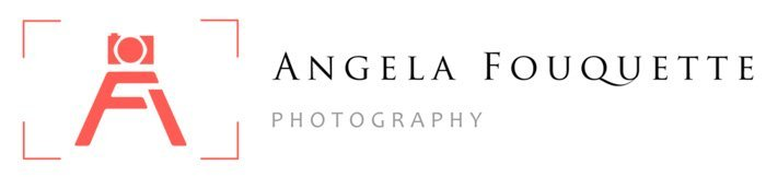Angela Fouguette logo using her initials in the shape of a camera tripod stand