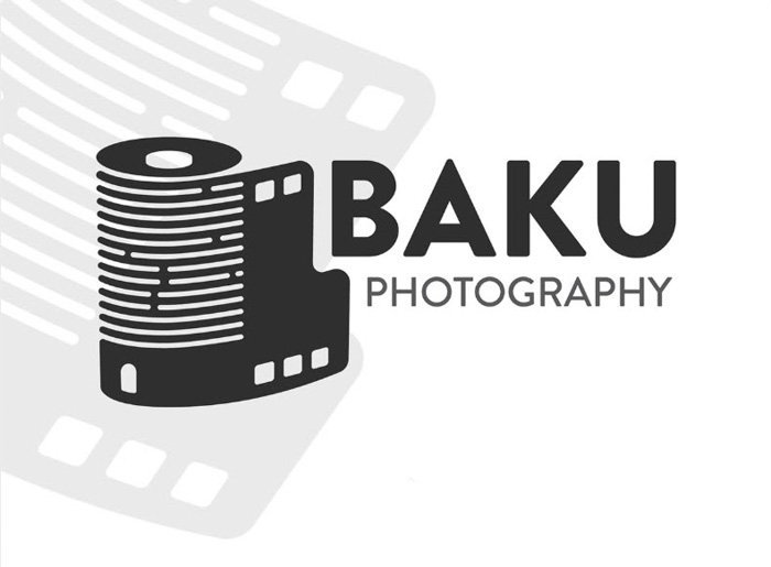Baku photography logo using a vector image of a roll of film