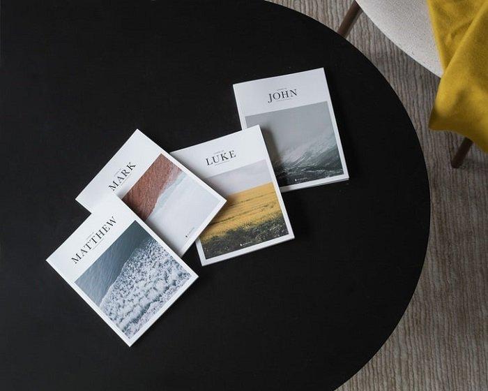printed portfolios on a desk