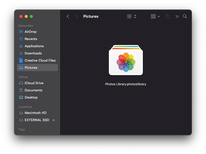 a screenshot of the Mac finders menu showing the pictures folder