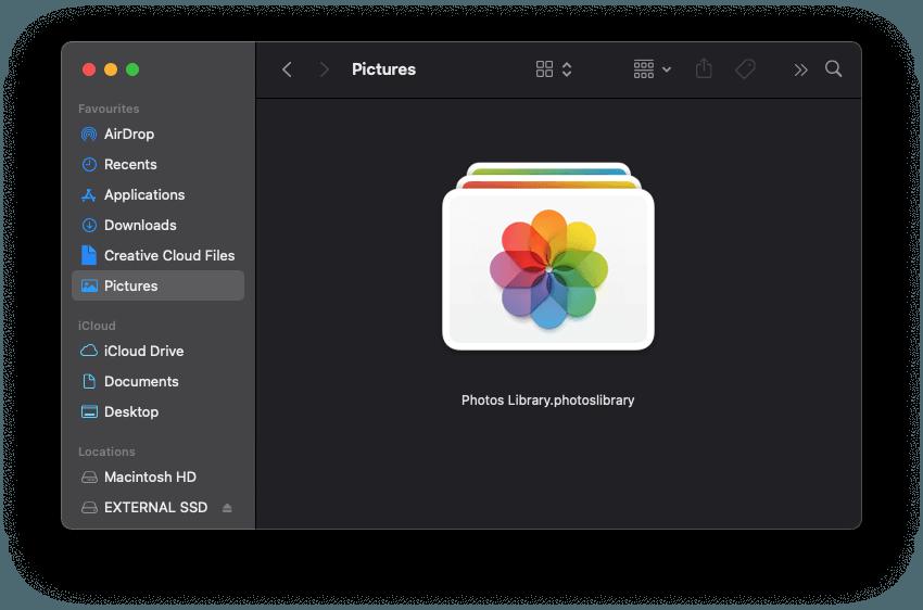A screenshot of the Mac Photos Library icon