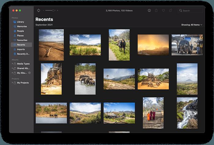 a screenshot of the mac photos library interface