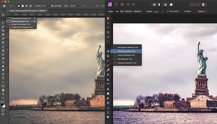 Affinity vs Photoshop tool bar menu flyout