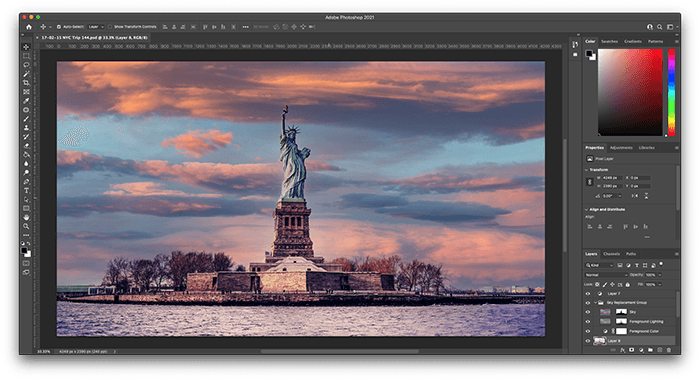 A screenshot of adobe photoshop interface featuring statue of liberty