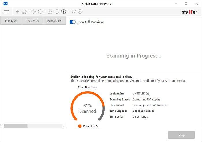 stellar data recovery scanning in progress