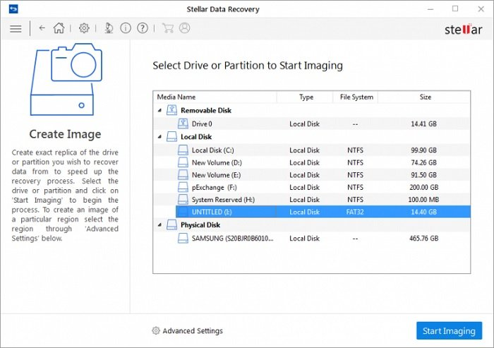 stellar data recovery software user interface