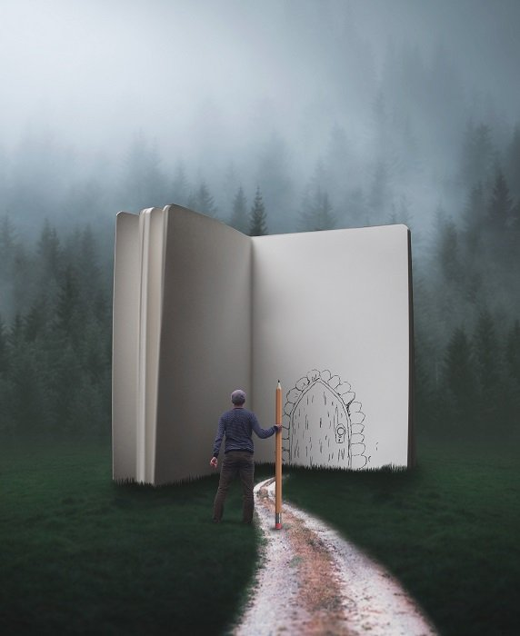 miniature man facing a door drawn in pencil on an open book