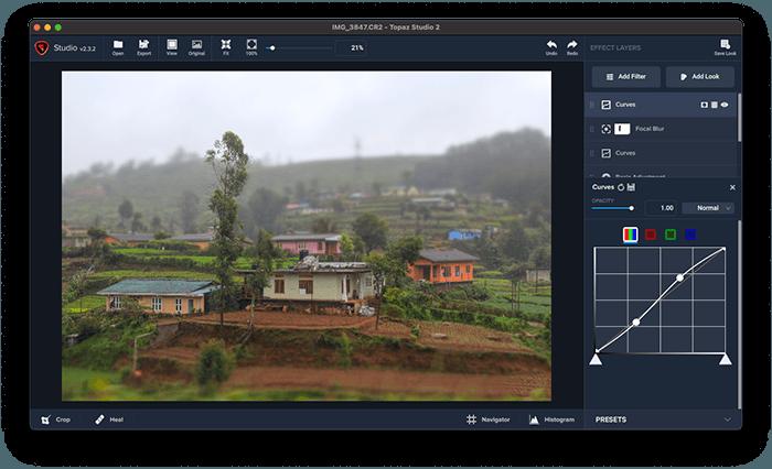 A screenshot of Topaz Studio 2 ai photo editor interface