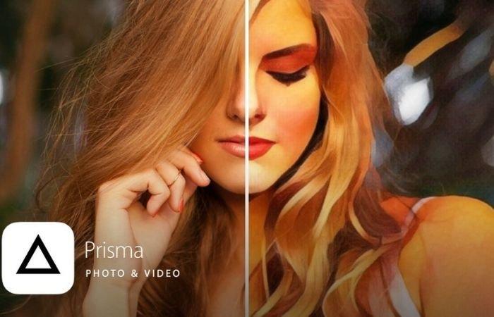 an image showing the comparison of a prisma ai photo edit