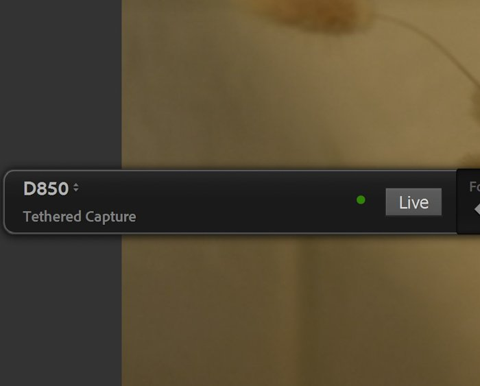 Closeup of lightroom tethering live view