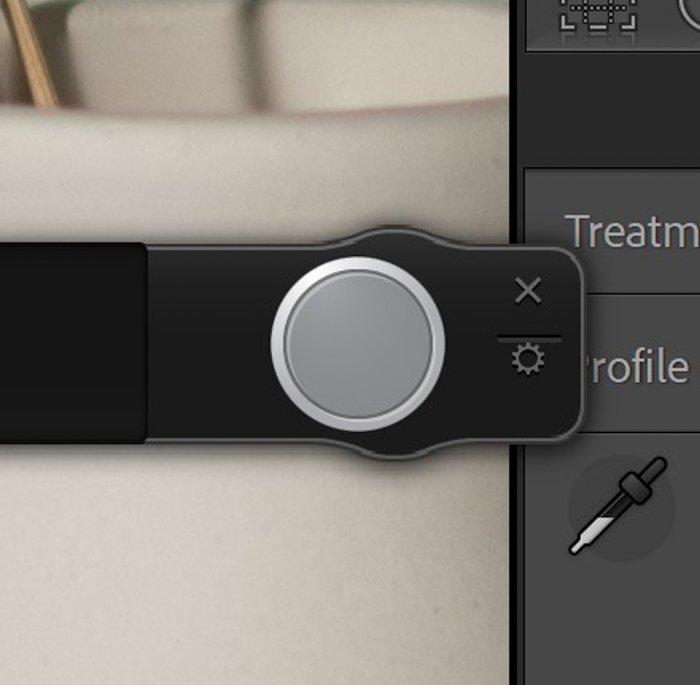 closeup of Lightroom shutter button